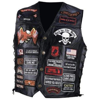 B&F System GFVBIK42XL Diamond Plate Rock Design Genuine Buffalo Leather Biker Vest with 42 Patches - Peazz.com
