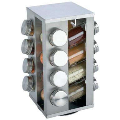 B&F System KTSPICE Chefs Secret 16-Jar Stainless Steel Rotating Spice Rack - Peazz.com
