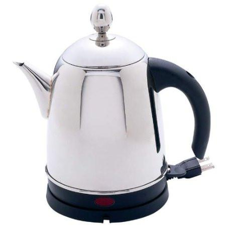 B&F System KTEHP Precise Heat High-Quality, Heavy-Gauge Stainless Steel 1.6qt Electric Water Kettle - Peazz.com