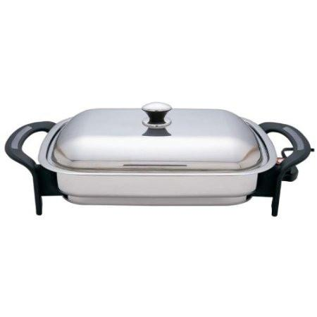 B&F System KTES4 Precise Heat T304 Stainless Steel 16 Rectangular Electric Skillet - Peazz.com