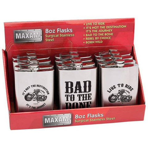 Maxam® 12pc 8oz Stainless Steel Flasks in Countertop Display - Peazz.com