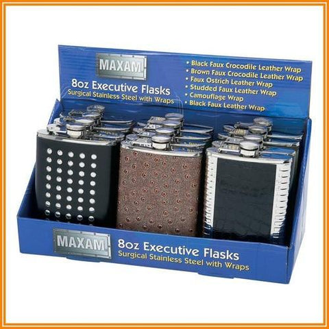 B&F System KTFLSKEX Maxam 12pc 8oz Executive Stainless Steel Flasks in Countertop Display - Peazz.com