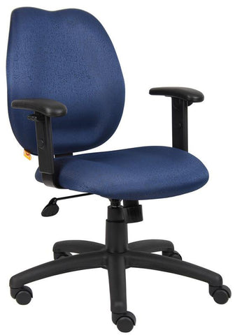 Boss Office Products B1014-BE Boss Blue Task Chair W/ Adjustabl Arms - Peazz.com