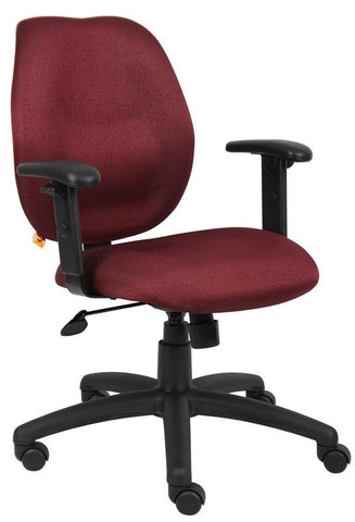 Boss Office Products B1014-BY Boss Burgundy Task Chair W/ Adjustabl Arms - Peazz.com