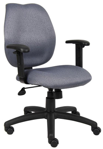 Boss Office Products B1014-GY Boss Gray Task Chair W/ Adjustabl Arms - Peazz.com