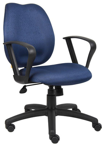 Boss Office Products B1015-BE Boss Blue Task Chair W/Loop Arms - Peazz.com