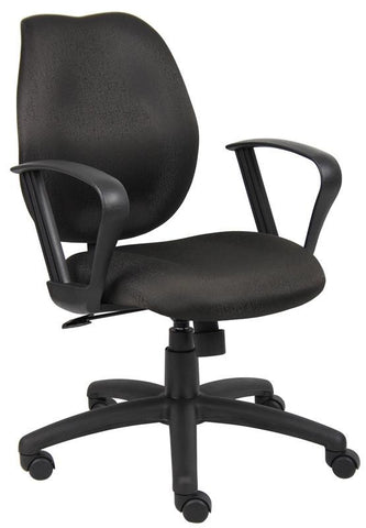 Boss Office Products B1015-BK Boss Black Task Chair W/Loop Arms - Peazz.com