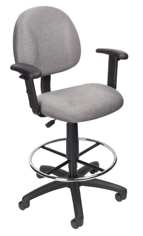Boss Office Products B1616-GY Boss Drafting Stool (B315-Gy) W/Footring And Adjustable Arms