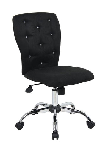 Boss Office Products B220-BK Tiffany Microfiber Chair-Black - Peazz.com