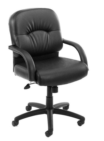 Boss Office Products B7407 Boss Mid Back Caressoft Chair In Black W/ Knee Tilt - Peazz.com