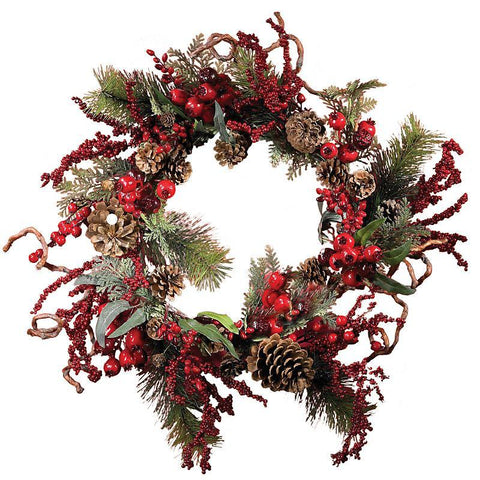 "24"" Assorted Berry Wreath - Peazz.com"