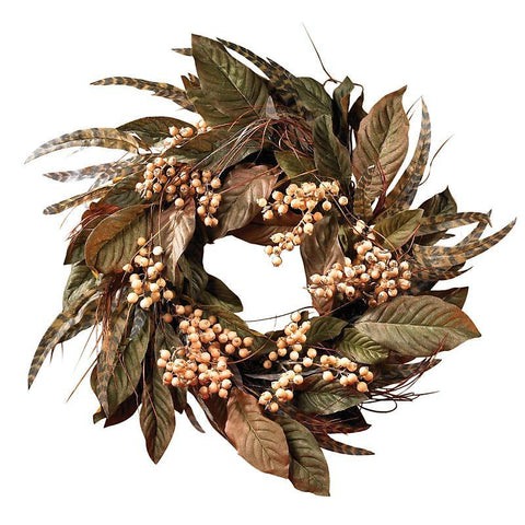 "24"" Feather & Berry Wreath - Peazz.com"