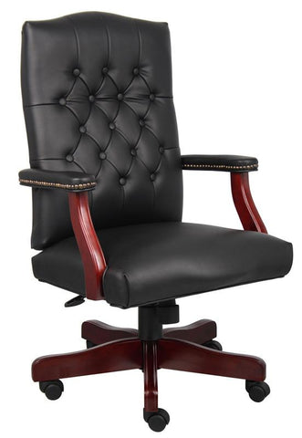 Boss Office Products B905-BK Boss Classic Black Caressoft Chair With Mahogany Finish - Peazz.com