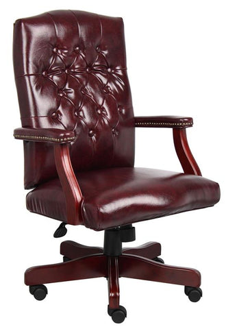 Boss Office Products B905-BY Boss Classic Executive Oxblood Vinyl Chair With Mahogany Finish - Peazz.com
