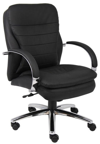 Boss Office Products B9226 Boss Mid Back Caressoftplus Exec. Chair W/ Chrome Base - Peazz.com