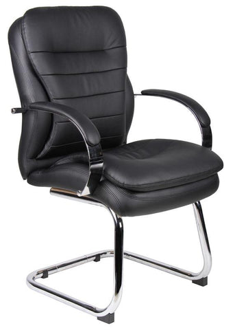 Boss Office Products B9229 Boss Mid Back Caressoftplus Guest Chair W/ Chrome Sled Base - Peazz.com