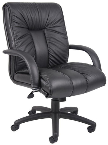 Boss Office Products B9306 Boss Italian Leather Mid Back Executive Chair - Peazz.com