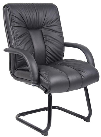 Boss Office Products B9309 Boss Italian Leather Mid Back Guest Chair - Peazz.com