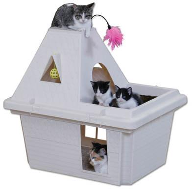 Kitty Cat Playhouse with Cushion 29.8 x 22.8 x 23.3 - Peazz.com