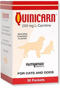 Quinicarn (L-Carnitine 250 mg) For Cats and Dogs, 30 Packets - Peazz.com