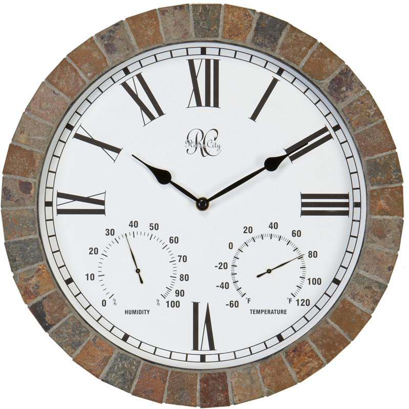15 Inch IndoorOutdoor Tile Clock with Time Temperature and Humidity