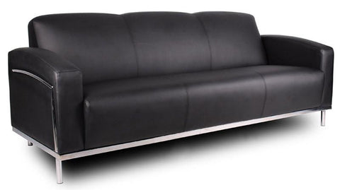 Boss Office Products BR99003-BK Boss Black Caressoftplus Sofa W/Chrome Frame - Peazz.com