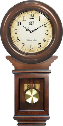 Chiming American Regulator Wall Clock with Swinging Pendulum and Cherry Finish - 27 Inches Tall - Peazz.com