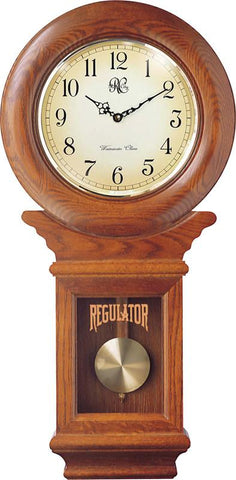 Chiming American Regulator Wall Clock with Swinging Pendulum and Oak Finish - 27 Inches Tall - Peazz.com