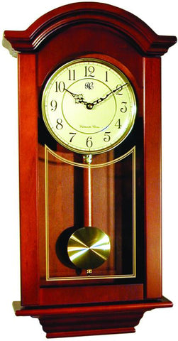 Chiming  Regulator Wall Clock with Swinging Pendulum and Cherry Finish - 24 Inches Tall - Peazz.com