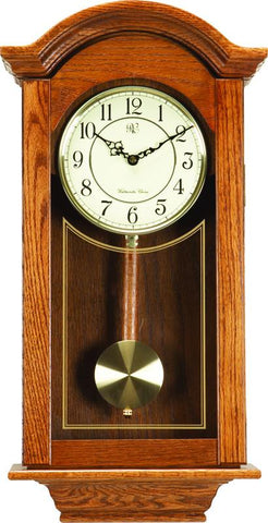 Chiming  Regulator Wall Clock with Swinging Pendulum and Oak Finish - 24 Inches Tall - Peazz.com