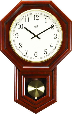 Radio-Controlled Schoolhouse Clock with Swinging Pendulum and Cherry Finish - 21 Inches Tall - Peazz.com