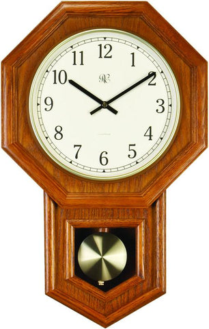 Radio-Controlled Schoolhouse Clock with Swinging Pendulum and Oak Finish - 21 Inches Tall - Peazz.com