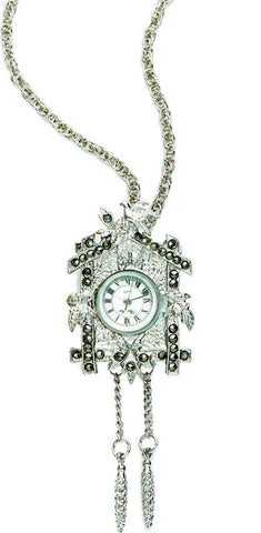 Silver Tone Cuckoo Clock Pendant / Necklace - Peazz.com
