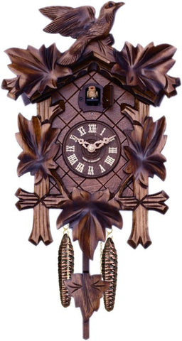 Traditional German Cuckoo Clock with Five Hand-carved Maple Leaves and One Bird - 14 Inches Tall - Peazz.com