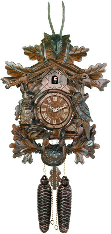 Eight Day Hunter's Cuckoo Clock with Hand-carved Oak Leaves, Animals, Rifles, and Buck - 20 Inches Tall
