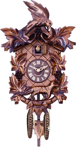 Aesop's Fable Cuckoo Clock with Hand-carved Maple Leaves, Grapes, Bird, and Fox - 15 Inches Tall - Peazz.com