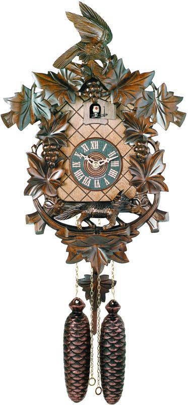 Eight Day Hand-carved Cuckoo Clock with Aesop's Fable Themed Carvings - Fox, Bird and Grapevines - 18 Inches Tall