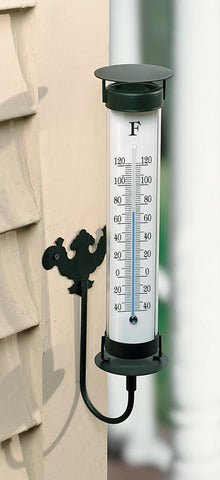 Indoor / Outdoor Wall Mount Thermometer with Black Metal Frame - 12 Inches Tall - Peazz.com