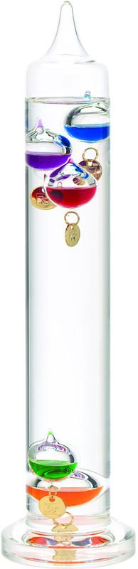13 Inch Liquid Galileo Thermometer with Five Multi Color Floats and Gold Tags