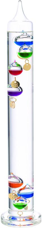 17 Inch Liquid Galileo Thermometer with Seven Multi Color Floats and Gold Tags