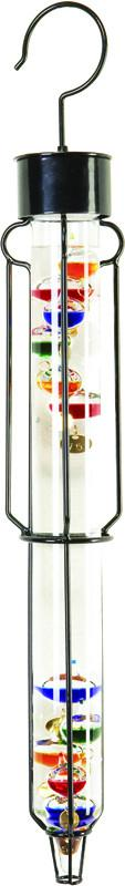25 Inch Outdoor Liquid Galileo Thermometer with Ten Multi Color Floats and Gold Tags