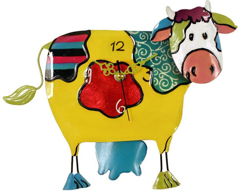 River City Clocks MCOW-09 Metal Yellow Cow Clock with Swinging Udders Pendulum - Peazz.com