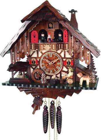 River City Clocks MD414-14 One Day Musical Cuckoo Clock Cottage with Beer Drinker, Waterwheel, and Dancers - Peazz.com