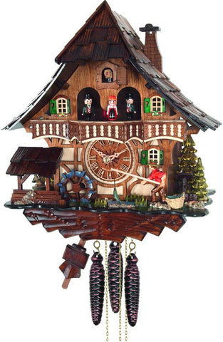 River City Clocks MD416-13 One Day Musical Cuckoo Clock Cottage - Fisherman Raises Pole and Moving Waterwheel - Peazz.com