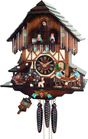 River City Clocks MD424-12 One Day Musical Cuckoo Clock with Men Sawing Wood, Waterwheel, and Dancers - Peazz.com