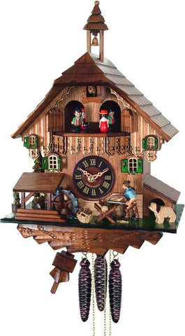 River City Clocks MD434-14 One Day Musical Cuckoo Clock Cottage with Man Sawing Wood, Waterwheel and Dancers - Peazz.com