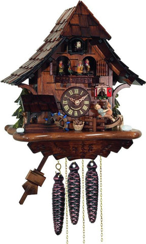 River City Clocks MD464-14 One Day Musical Cuckoo Clock Cottage with Boy on Rocking Horse, Moving Waterwheel, and Dancers - Peazz.com