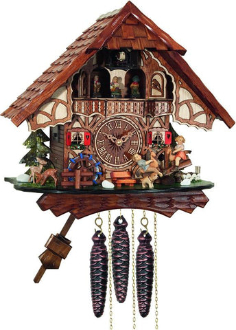 River City Clocks MD468-13 One Day Musical Cuckoo Clock Cottage with Boy and Girl on Seesaw - Peazz.com