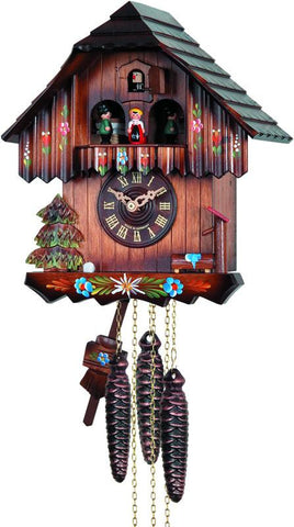 River City Clocks MD482-11 One Day Musical Cuckoo Clock with Hand-painted Flowers and Moving Dancers - Peazz.com