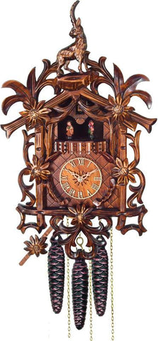 River City Clocks MD485-18 One Day Musical Cuckoo Clock with Hand-carved Flowers, Vines, and Billy Goat - Peazz.com